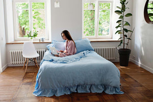 RUFFLED LINEN DUVET COVER-LIGHT BLUE - Iconic Linen