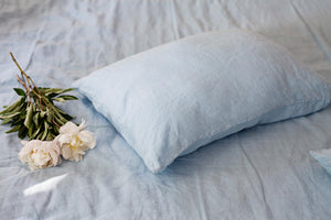 LIGHT BLUE LINEN PILLOW CASE - Iconic Linen