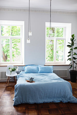 LIGHT BLUE LINEN BEDDING SET - Iconic Linen