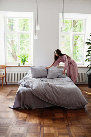 LIGHT GRAY LINEN DUVET COVER - Iconic Linen