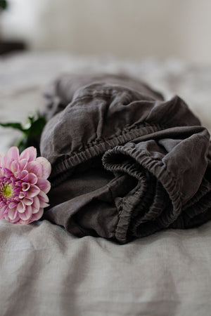 DARK GREY LINEN FITTED SHEET - Iconic Linen