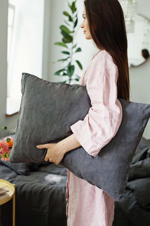 DARK GREY LINEN PILLOW CASE - Iconic Linen