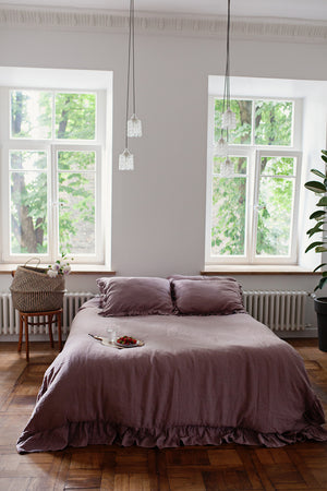 RUFFLED LINEN DUVET COVER-DUSTY ROSE - Iconic Linen