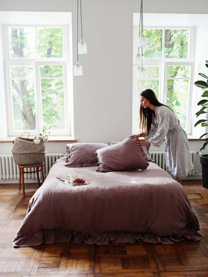 RUFFLED LINEN BEDDING SET-DUSTY ROSE - Iconic Linen