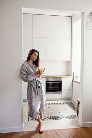 LIGHT GREY LINEN ROBE - Iconic Linen