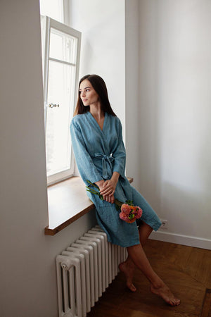 LIGHT BLUE LINEN ROBE - Iconic Linen