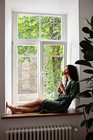 GREEN LINEN ROBE - Iconic Linen