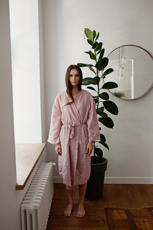 PINK LINEN ROBE - Iconic Linen