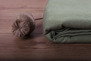 GREEN OLIVE LINEN FABRIC - Iconic Linen
