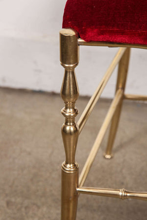 Polished Brass Chiavari Chairs with Red Velvet, Italy