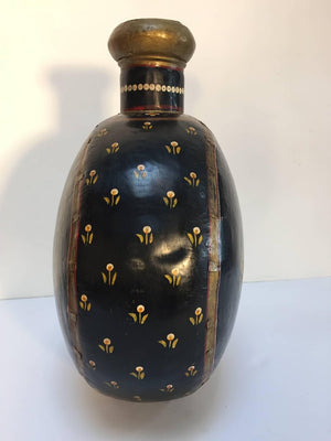 Hand-Hammered Anglo Raj Copper Black Hand-Painted Vessel Jug