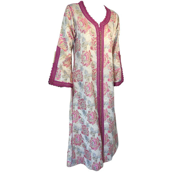 Vintage Moroccan Kaftan Brocade Embroidered with Pink and Gold Trim