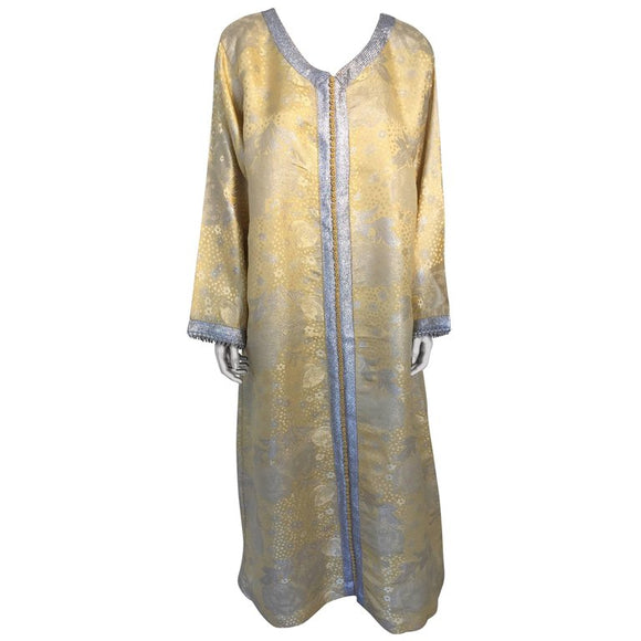Metallic Gold and Silver Brocade 1970s Maxi Dress Caftan, Evening Gown Kaftan