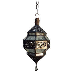 Handcrafted Moroccan Metal and Clear Glass Lantern, Octagonal Shape