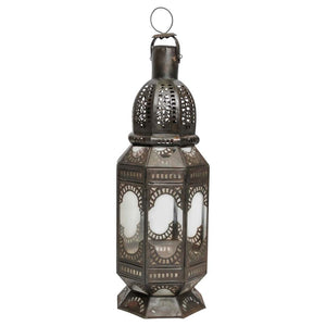 Moroccan Metal and Clear Glass Candle Lantern