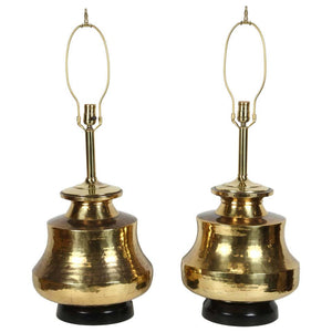 Pair of Polished Moroccan Moorish Brass Table Lamps