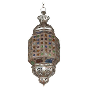 Moroccan Hand-crafted Light Fixture with Multicolor Glass