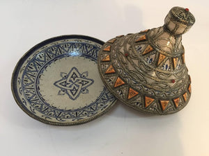 Moroccan Ceramic Polychrome Tajine with Leather Stones and Metal Overlay
