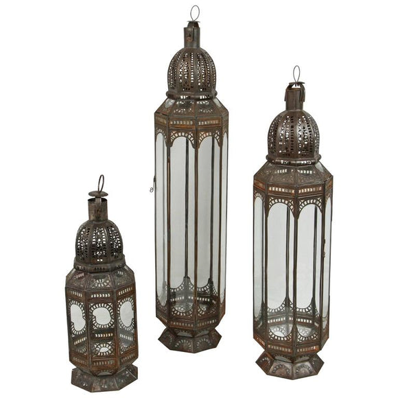 Set of Three Large Moroccan Clear Glass Lanterns