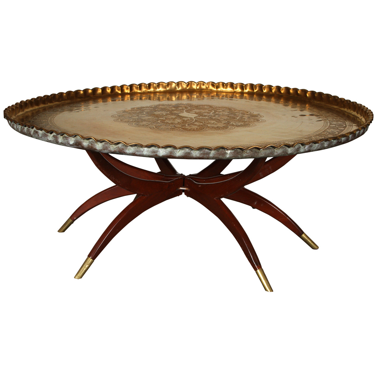 Bon Large Moroccan Round Brass Tray Table On Folding Stand 45 In.
