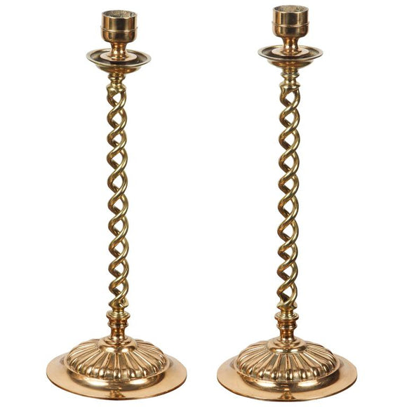 Pair of English Polished Cast Brass Candle Stands