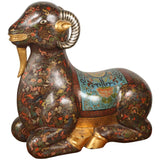 Asian Wood Hand-PaintedRecumbent Ram