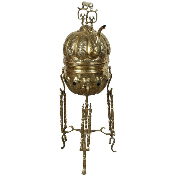 Moroccan Brass Kettle on Stand Handcrafted in Fez Morocco