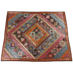 Indian Silk Sari Tapestry Quilt Patchwork Bedcover