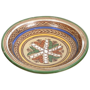 Decorative Moroccan Antique Pottery Bowl