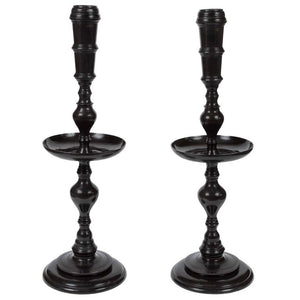 Pair of Vintage Black Metal Moroccan Candle Stands by Maitland-Smith