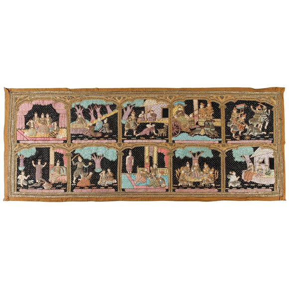 Burmese Kalaga Beads Embroidered Tapestry