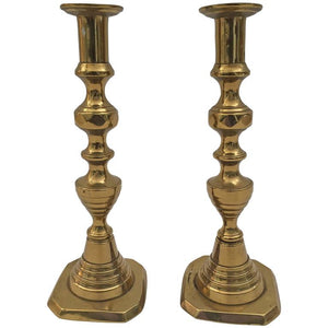 Pair of Tall English Brass Candlesticks