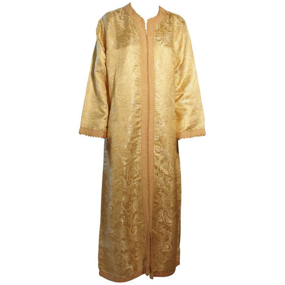 Moroccan Gold Brocade Caftan 1970 Maxi Dress Kaftan Size M to L