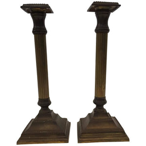 Pair of George III Brass Candlesticks