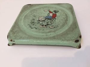 Vintage French Pressed Square Metal Enameled Hand-Painted Trivet