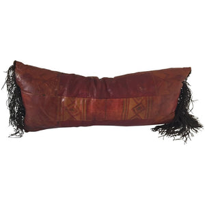 African Tuareg Leather Pillow with Fringes
