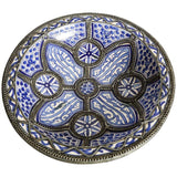 Decorative Moroccan Blue and White Handcrafted Ceramic Bowl from Fez