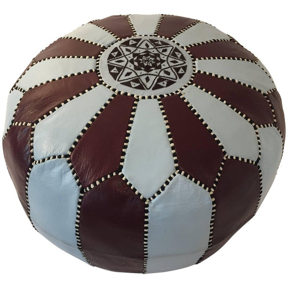 Vintage Moroccan round leather pouf brown and blue embroidered with the eight pointed star on top