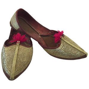 Handcrafted Leather Turkish Gold Embroidered Shoes