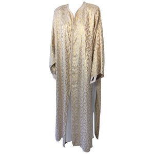 Moroccan Gold Silk Brocade Caftan Set