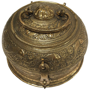 Decorative Large Round Anglo-Indian Brass Box Tea Caddy