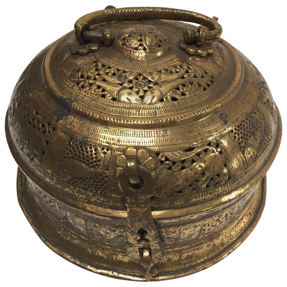 Anglo Indian Large Round Decorative Brass Box with Lid