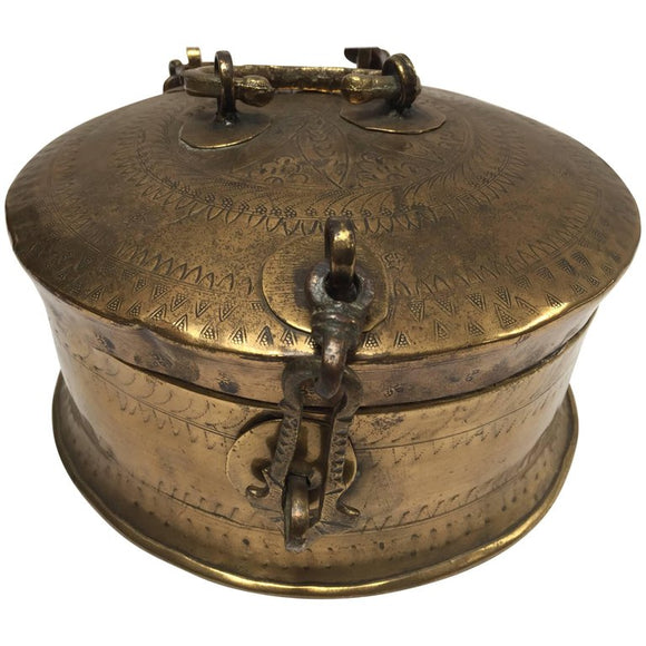 Anglo Indian Decorative Brass Lidded Tea Caddy