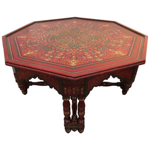 Hand-crafted Hand-Painted Red Octagonal Moroccan Coffee Table