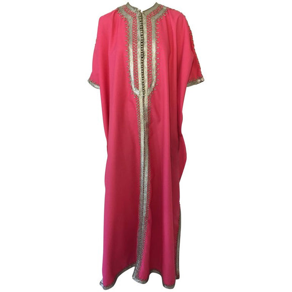 Moroccan Caftan Hot Pink Color Embroidered with Silver, Kaftan circa 1970