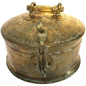 Rajasthani Decorative Brass Lidded Tea Caddy Box