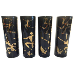 "Vintage Black Glasses with Gold Design of ""Black Americana Exotic Dancers"""