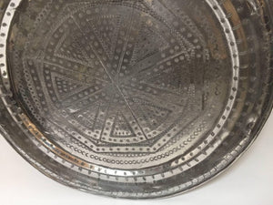 Vintage Handcrafted Moroccan Metal Round Tray