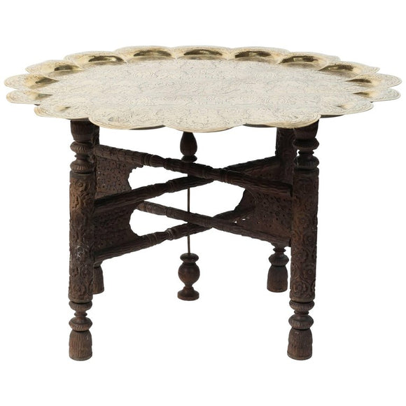 Anglo Indian Hammered Round Polished Brass Tray Table on Folding Stand