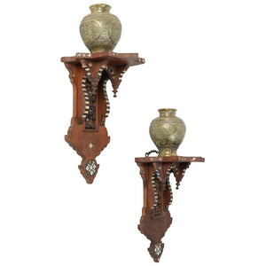 Persian Engraved Ghalam-Zani Brass Vases with Wooden Wall Brackets